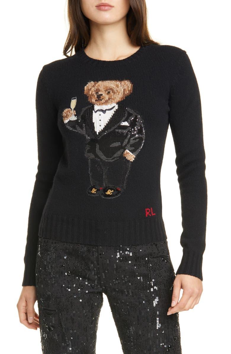 POLO RALPH LAUREN Tux Bear Crewneck Sweater, Main, color, BLACK MULTI