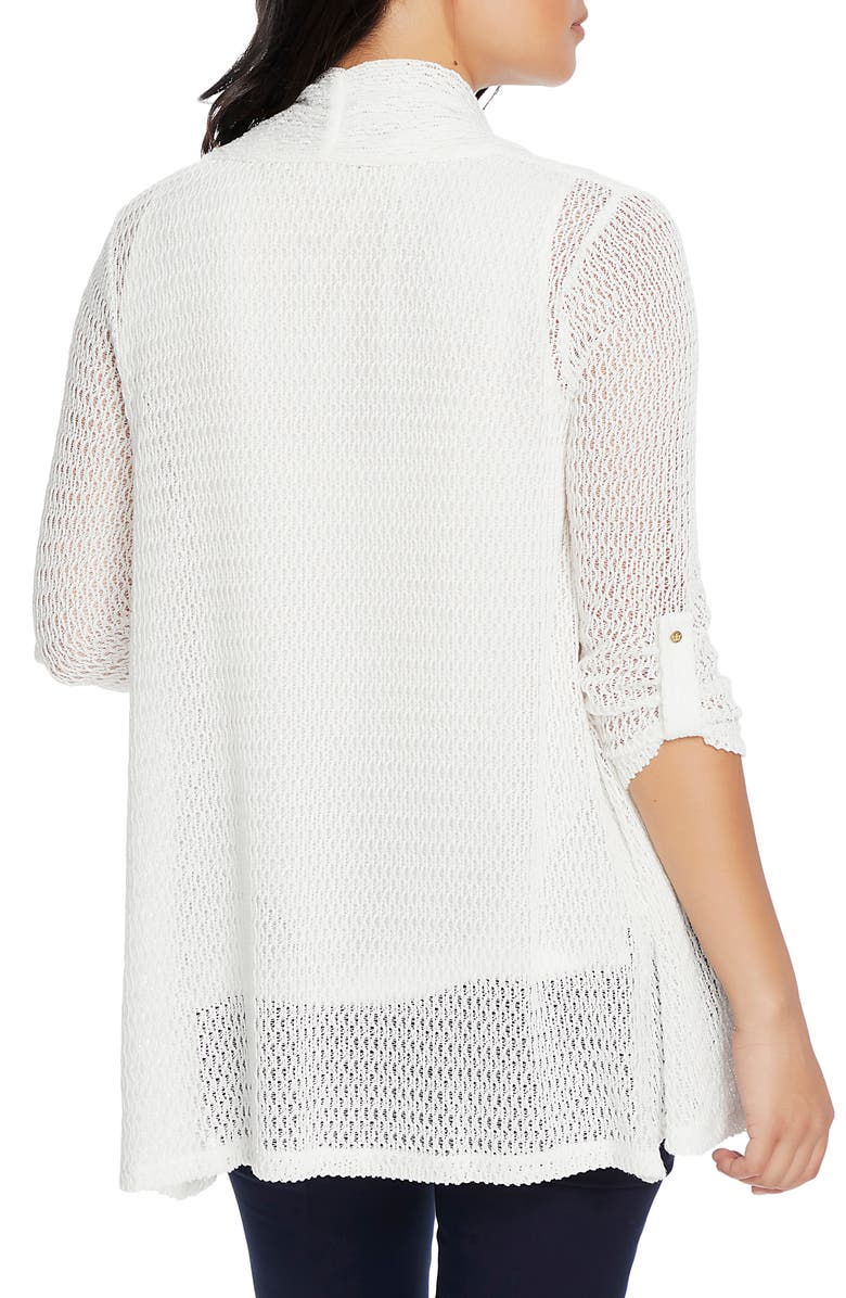CHAUS Rolled Sleeve Loose Knit Cardigan, Alternate, color, ANTIQUE WHITE