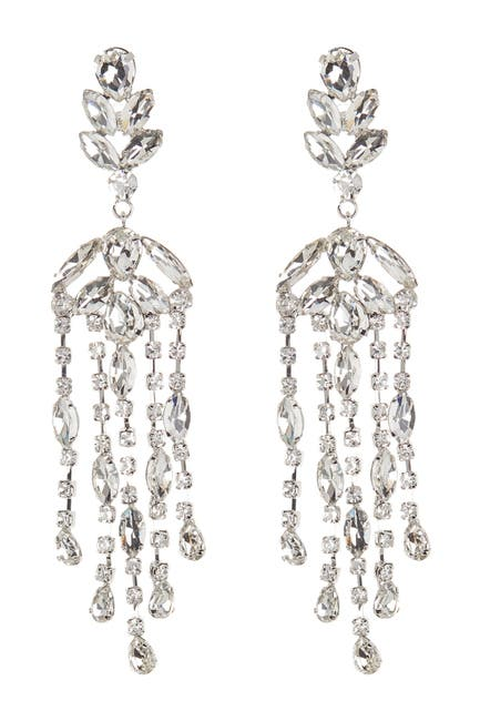 Image of CRISTABELLE Prong Set Crystal Chandelier Fringe Drop Earrings
