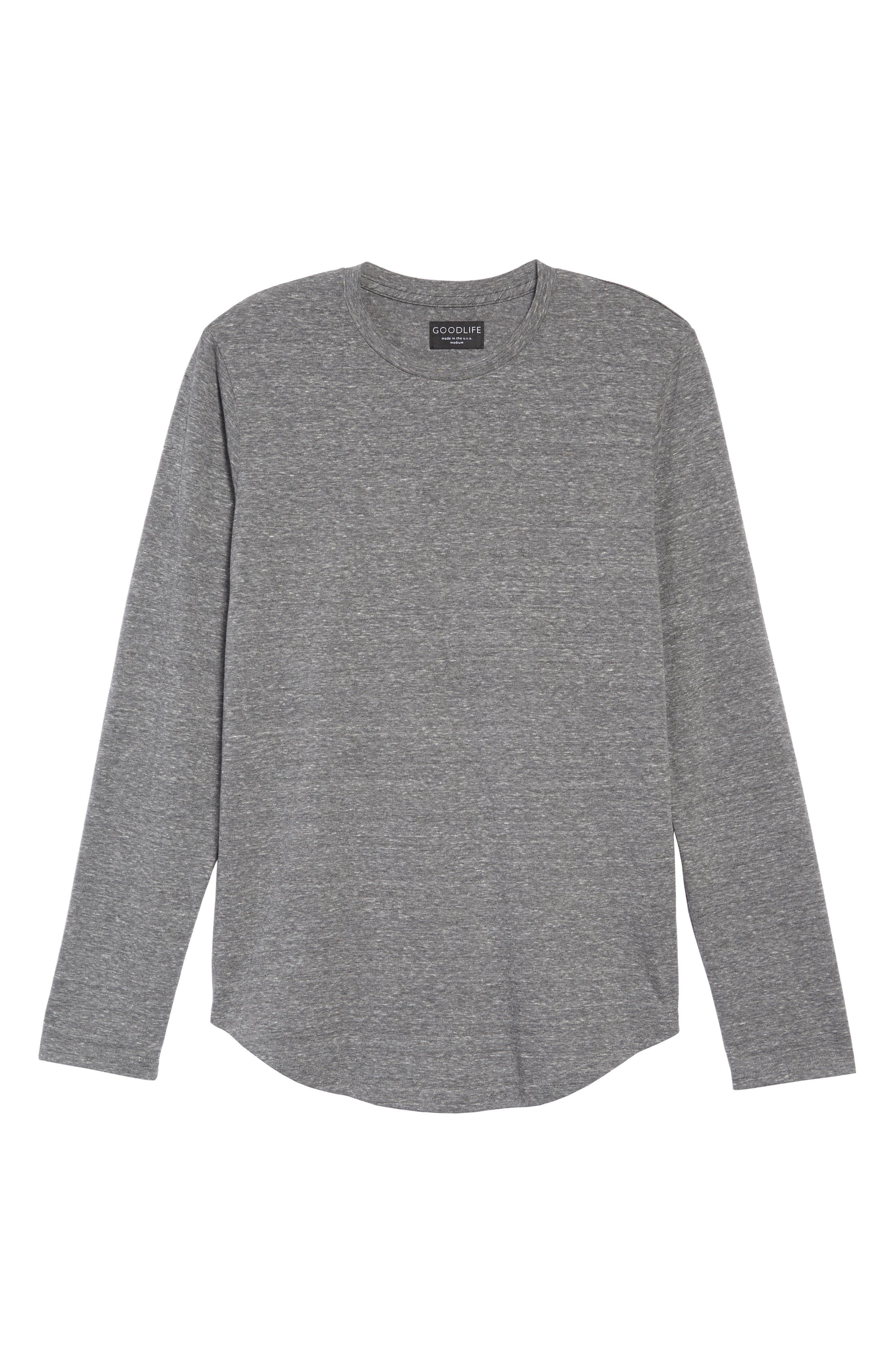,                             Triblend Scallop Long Sleeve Crewneck T-Shirt,                             Alternate thumbnail 8, color,                             020