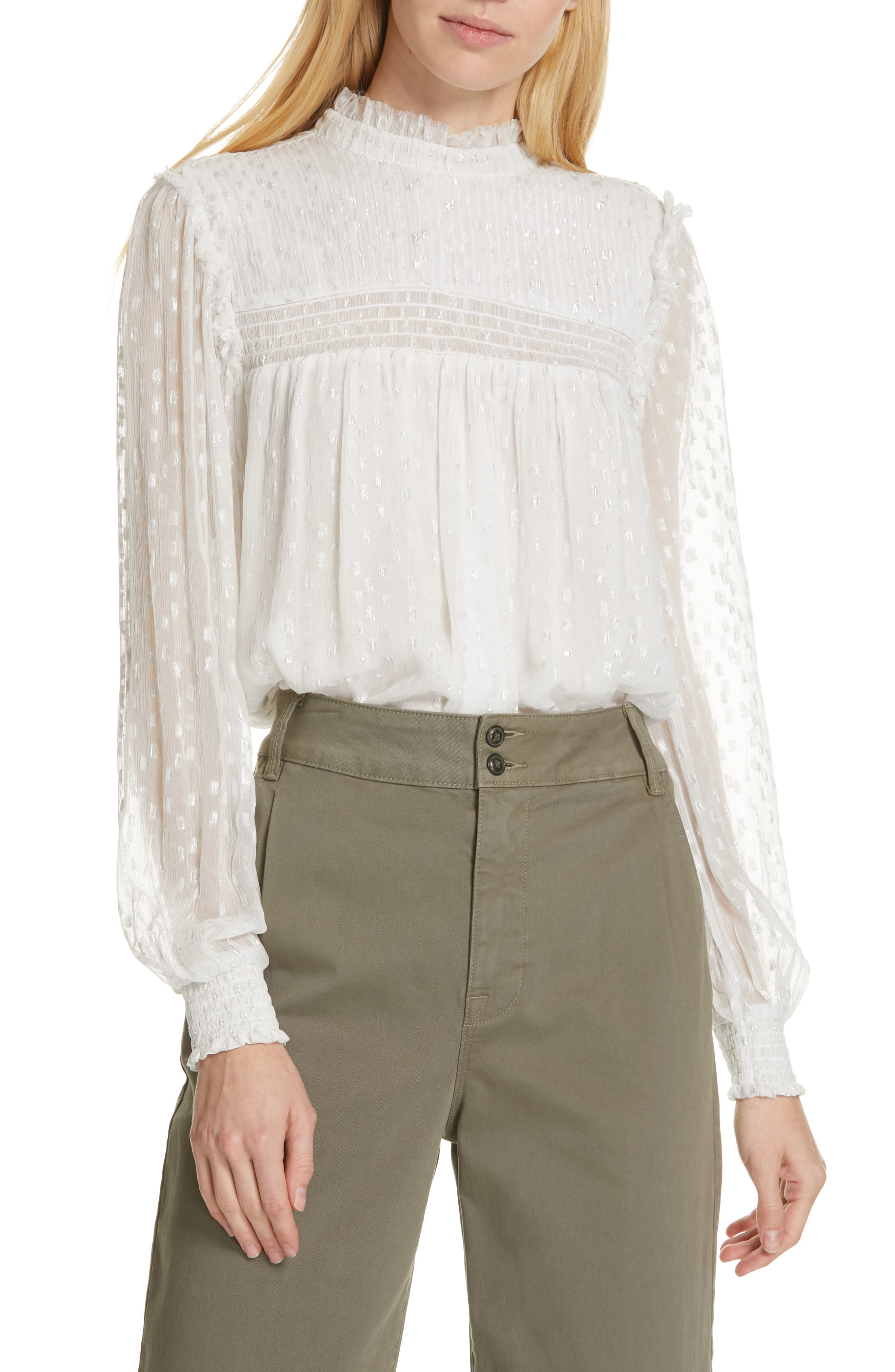 ,                             Smocked Metallic Woven Blouse,                             Main thumbnail 1, color,                             OFF WHITE MULTI