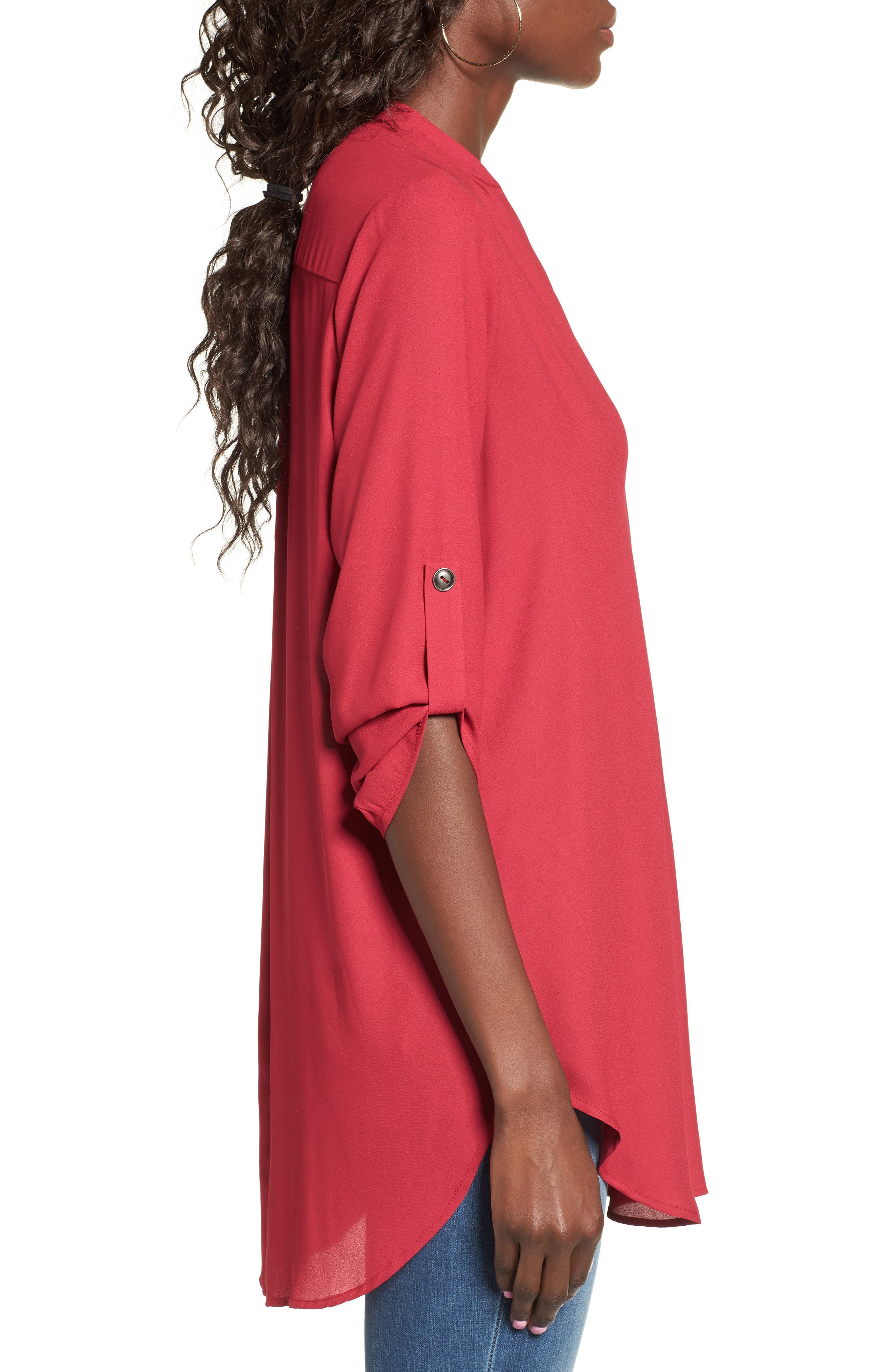 ,                             Perfect Roll Tab Sleeve Tunic,                             Alternate thumbnail 345, color,                             605