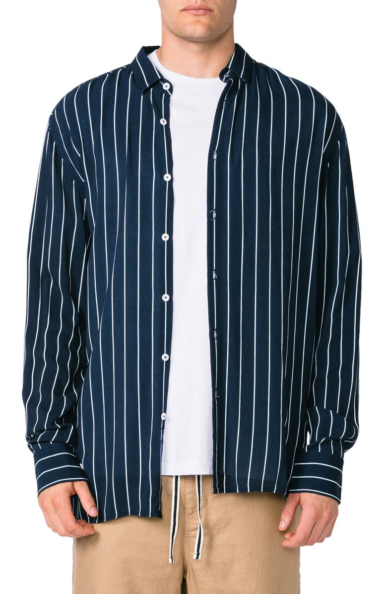 ZANEROBE Pinstripe Button-Up Box Shirt, Main, color, 410