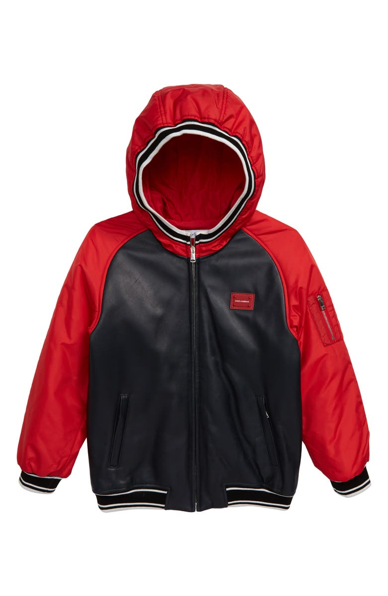 DOLCE&GABBANA Giubbotto Hooded Bomber Jacket, Main, color, RED/ BLUE