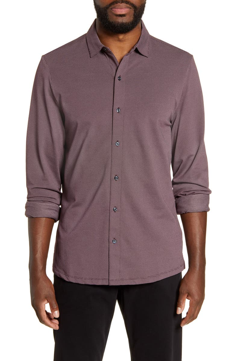 ROBERT BARAKETT Nelson Regular Fit Button-Up Knit Shirt, Main, color, DEEP PORT