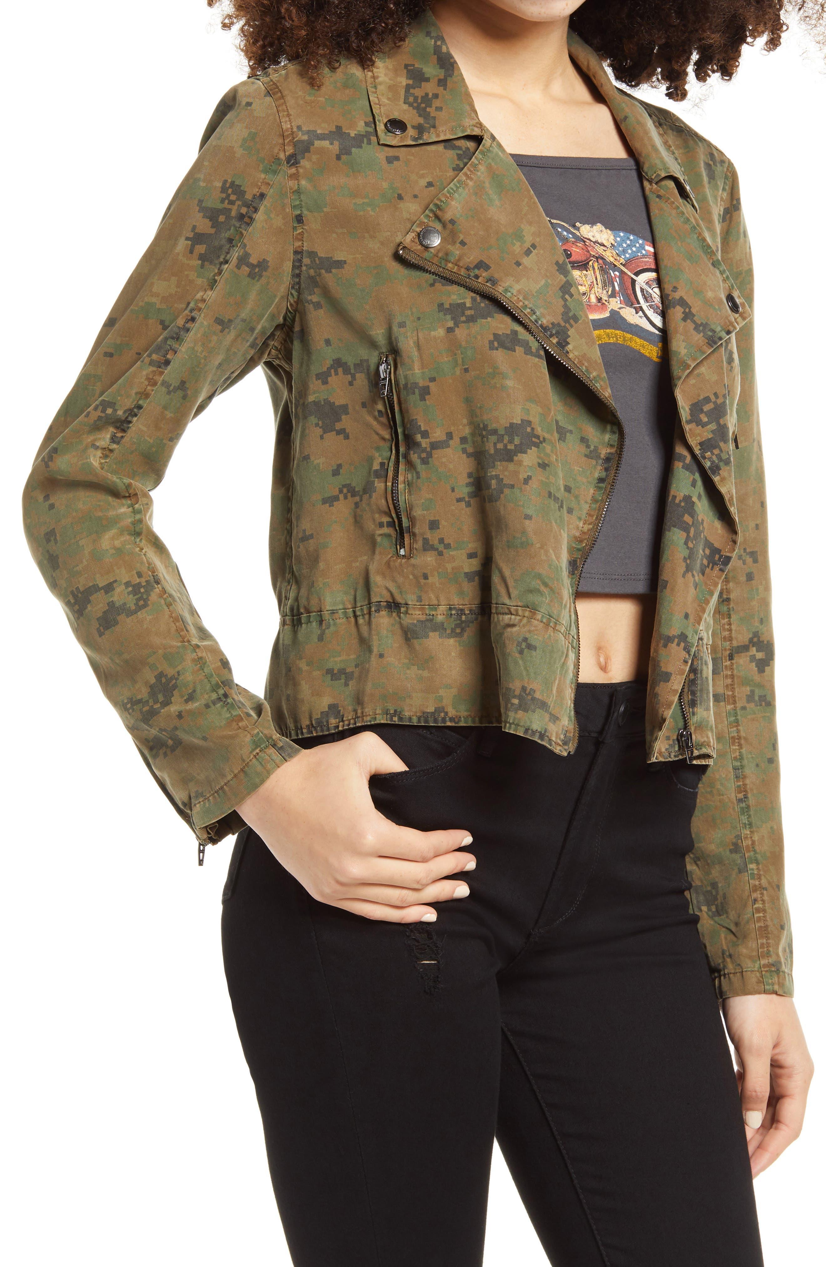 Women's Blanknyc Camo Print Moto Jacket, Size Medium - Green