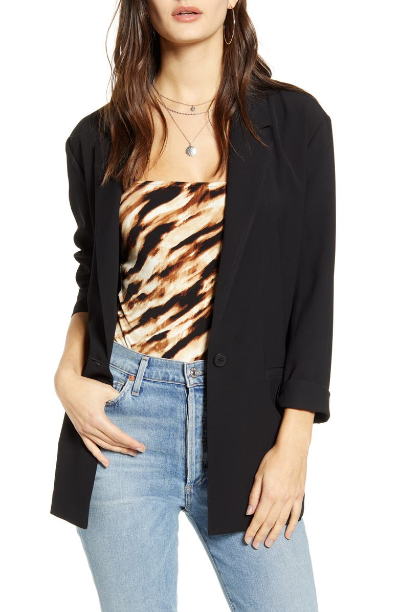 LEITH Boyfriend Blazer, Main, color, BLACK