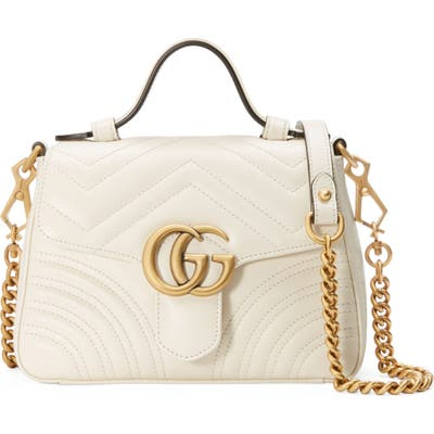 Gucci Marmont 2.0 Leather Top Handle Bag - White