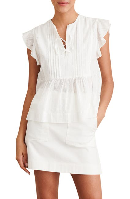 Image of ALEX MILL Swiss Dot Ruffle Sleeve Top
