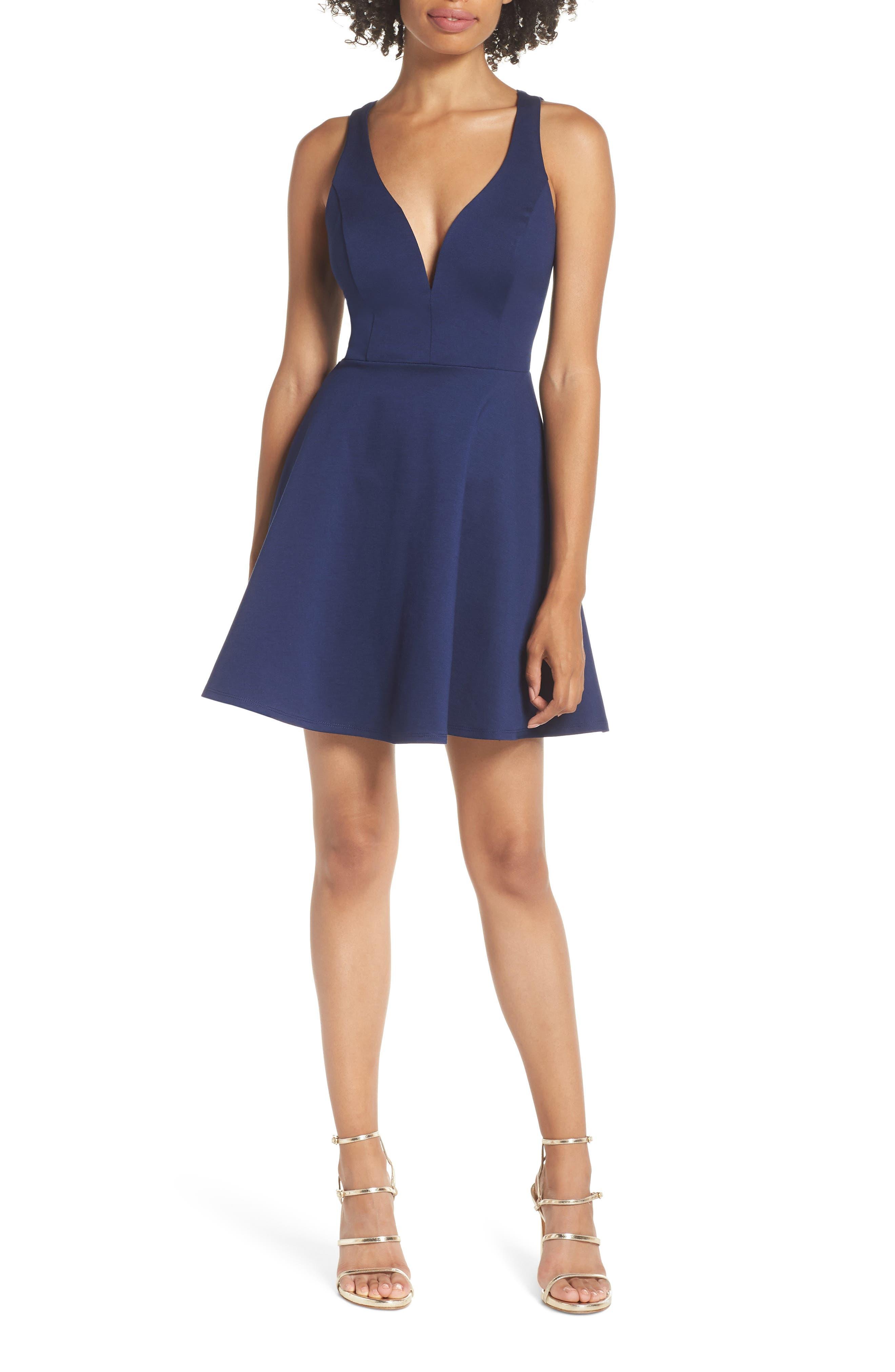 Lulus Love Galore Skater Dress, Blue