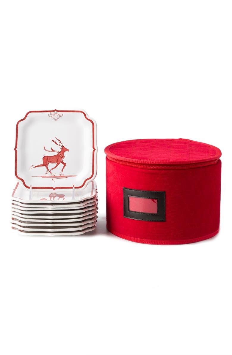 JULISKA Reindeer Games Set of 10 Ceramic Party Plates, Main, color, RUBY