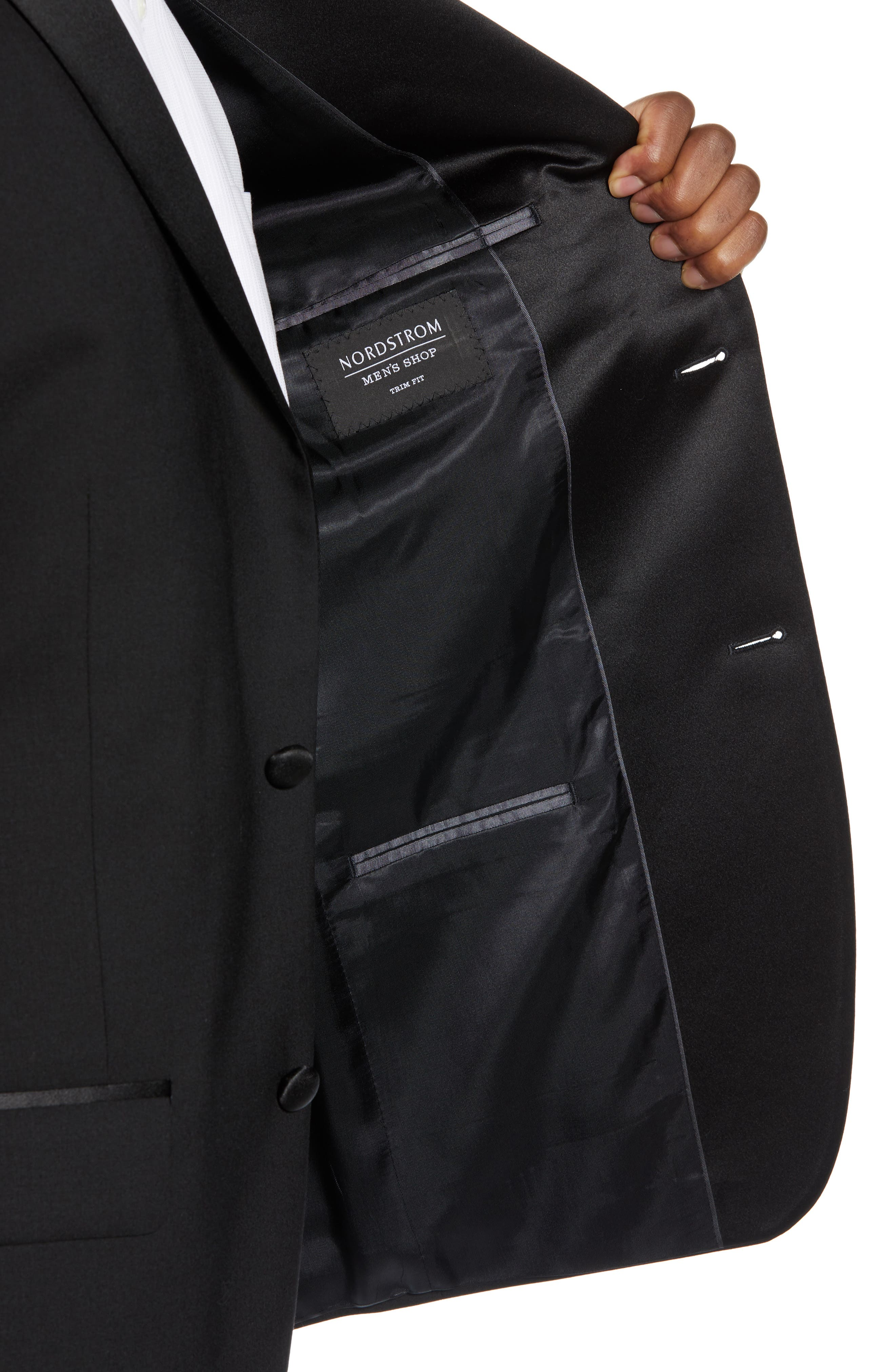 ,                             Trim Fit Stretch Wool Tuxedo Jacket,                             Alternate thumbnail 5, color,                             BLACK