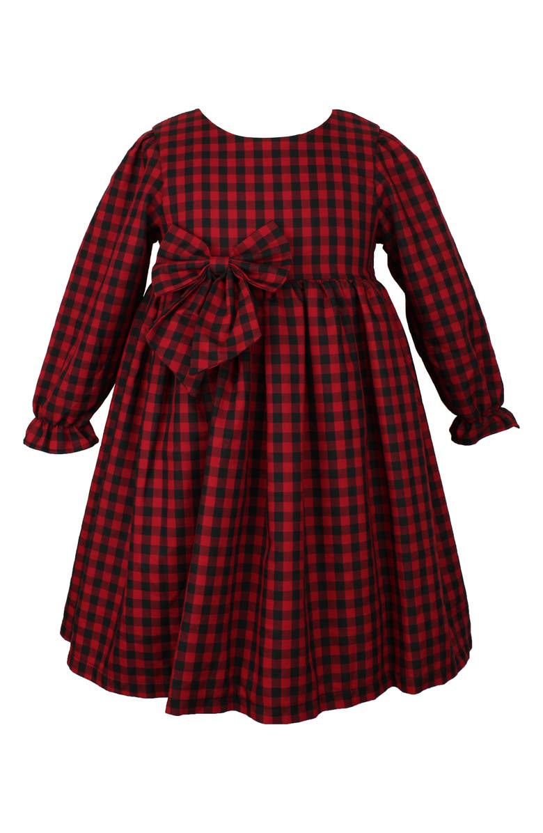 POPATU Check Long Sleeve Dress, Main, color, RED