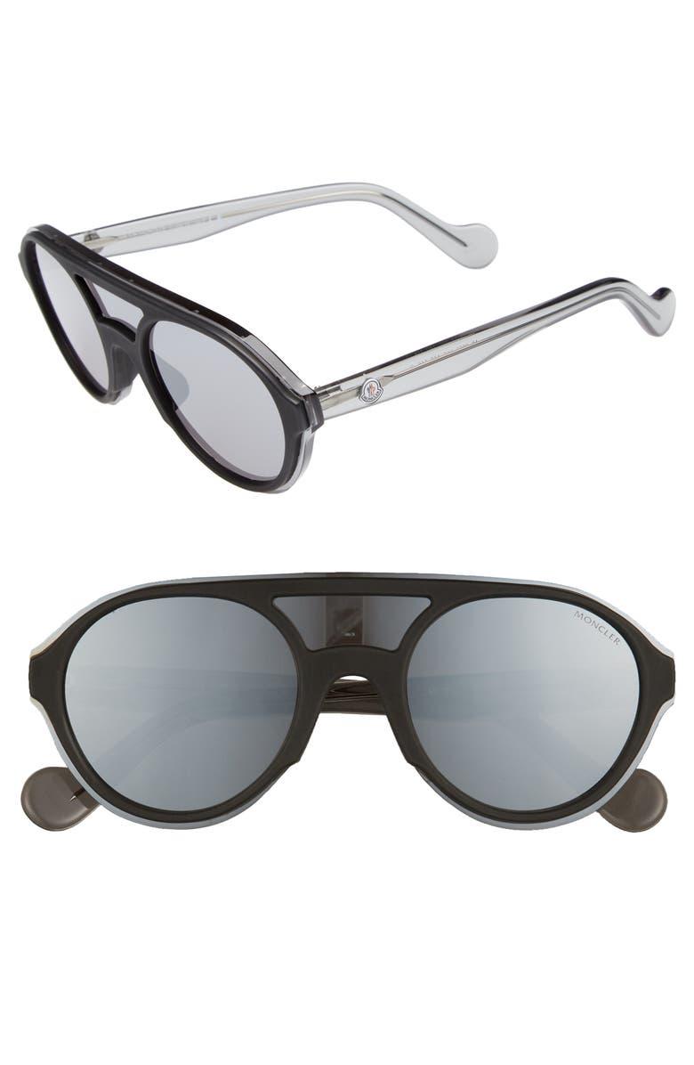 MONCLER 52mm Shield Sunglasses, Main, color, SHINY BLACK / SMOKE MIRROR