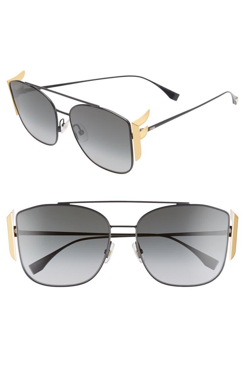 FENDI 62mm Oversize Mirrored Flat Front Sunglasses, Main, color, BLACK/ DKGRAY GRADIENT