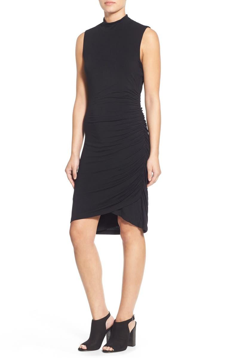 HALOGEN<SUP>®</SUP> Sleeveless Side Ruched Mock Neck Knit Dress, Main, color, 001