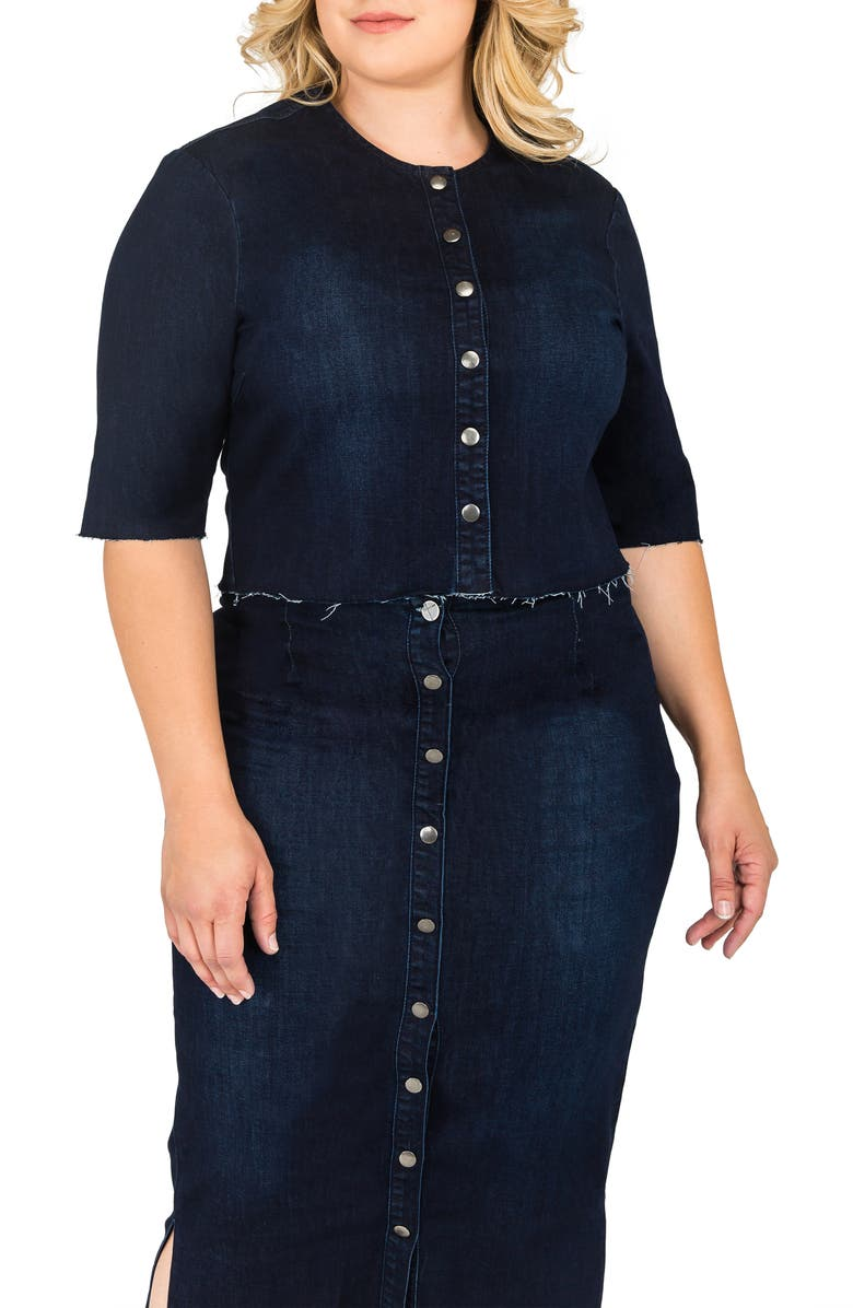 STANDARDS & PRACTICES Elanese Crop Denim Jacket, Main, color, BLUE