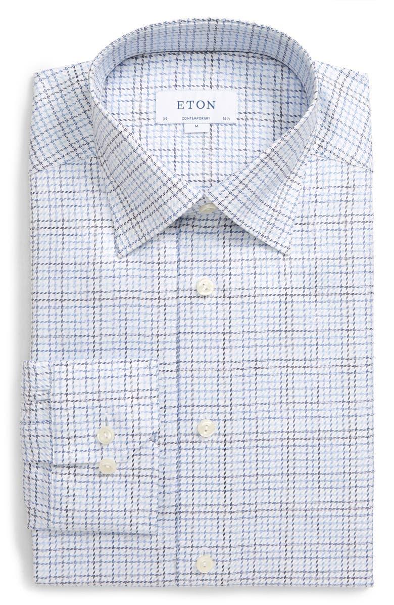 ETON Contemporary Fit Tattersall Dress Shirt, Main, color, BLUE