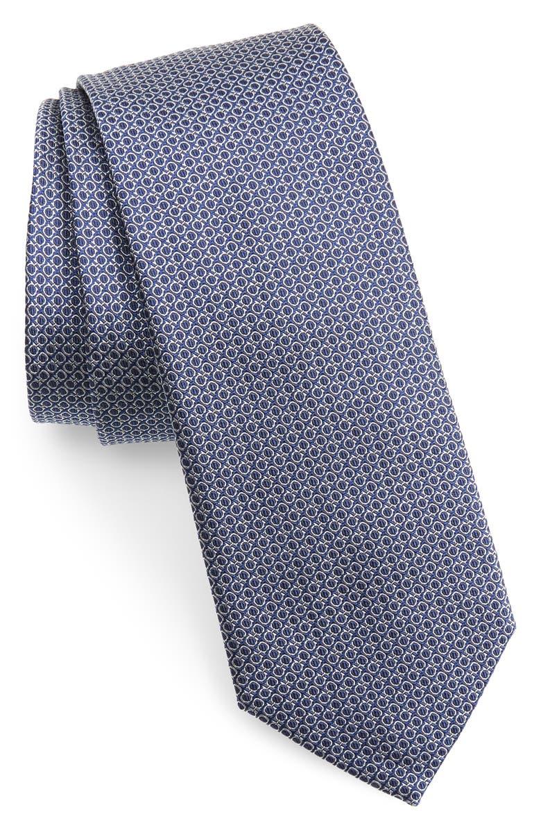 SALVATORE FERRAGAMO Micro Geo Print Silk Tie, Main, color, F.BLU SCURO