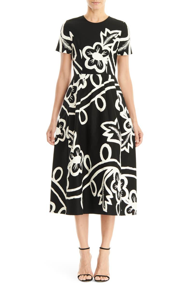 CAROLINA HERRERA Graphic Floral Short Sleeve Midi Dress, Main, color, BLACK/ WHITE