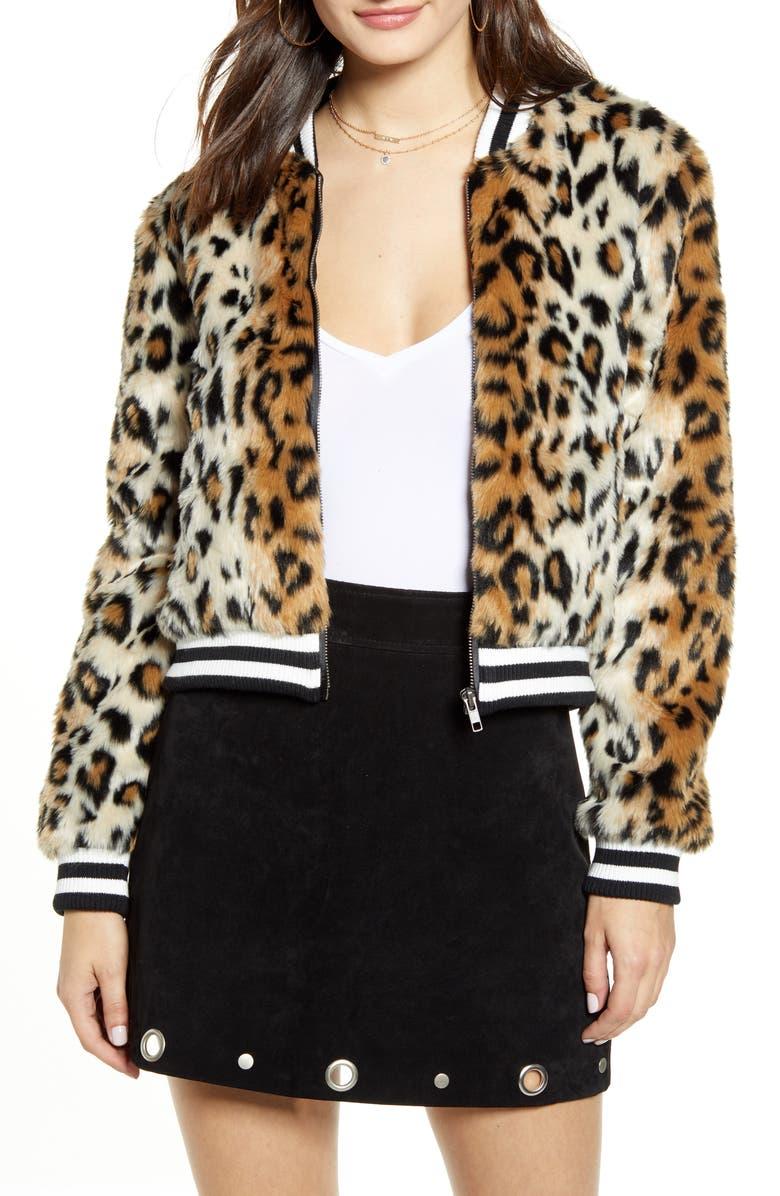 JACK by BB Dakota Leopard Faux Fur Bomber Jacket, Main, color, BLACK