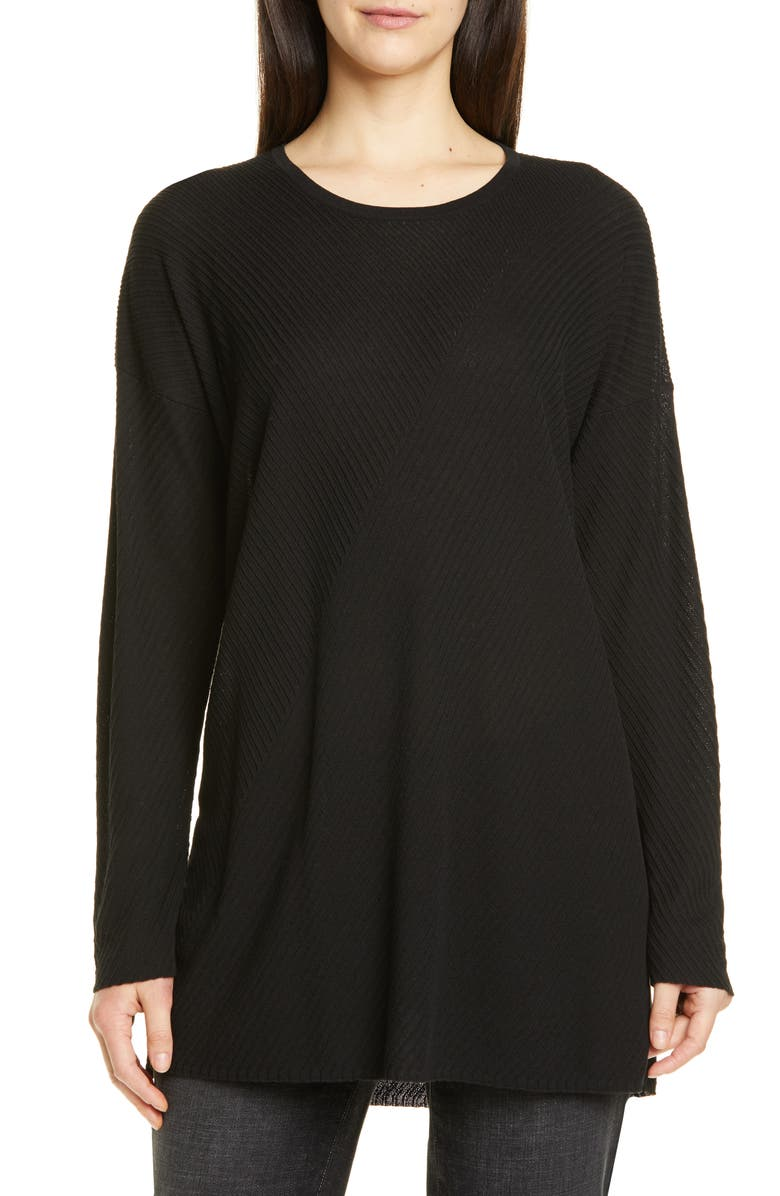 EILEEN FISHER Round Neck Tunic, Main, color, 001