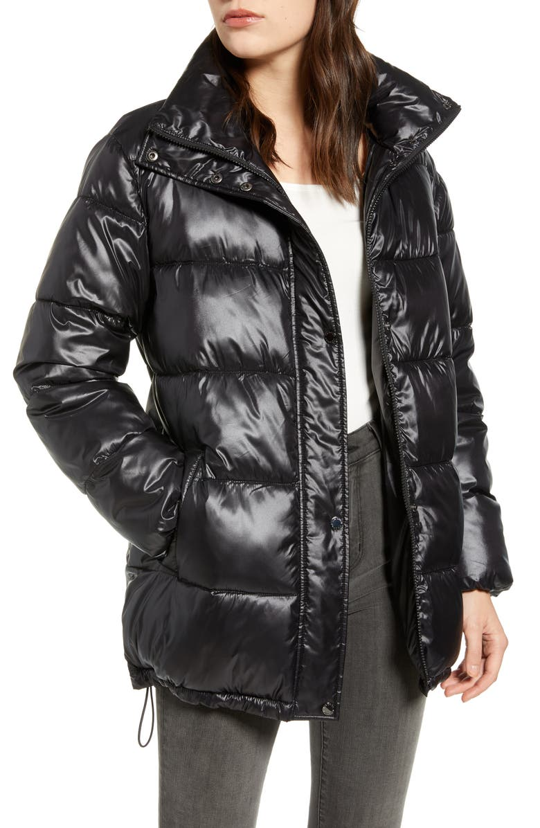 VIA SPIGA Stand Collar Water Resistant Puffer Coat, Main, color, BLACK