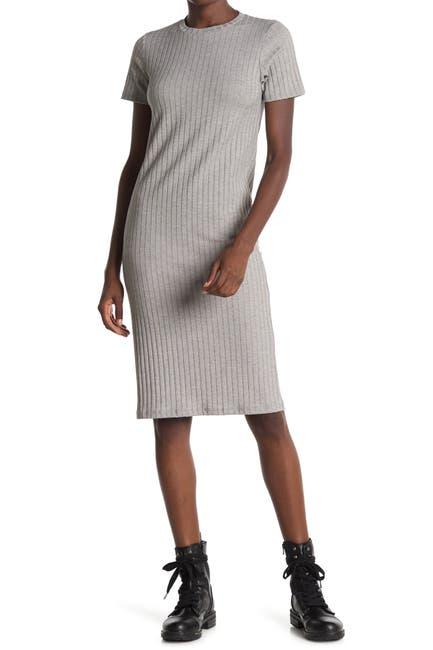 Image of Velvet Torch Short Sleeve Ribbed Knit Dress