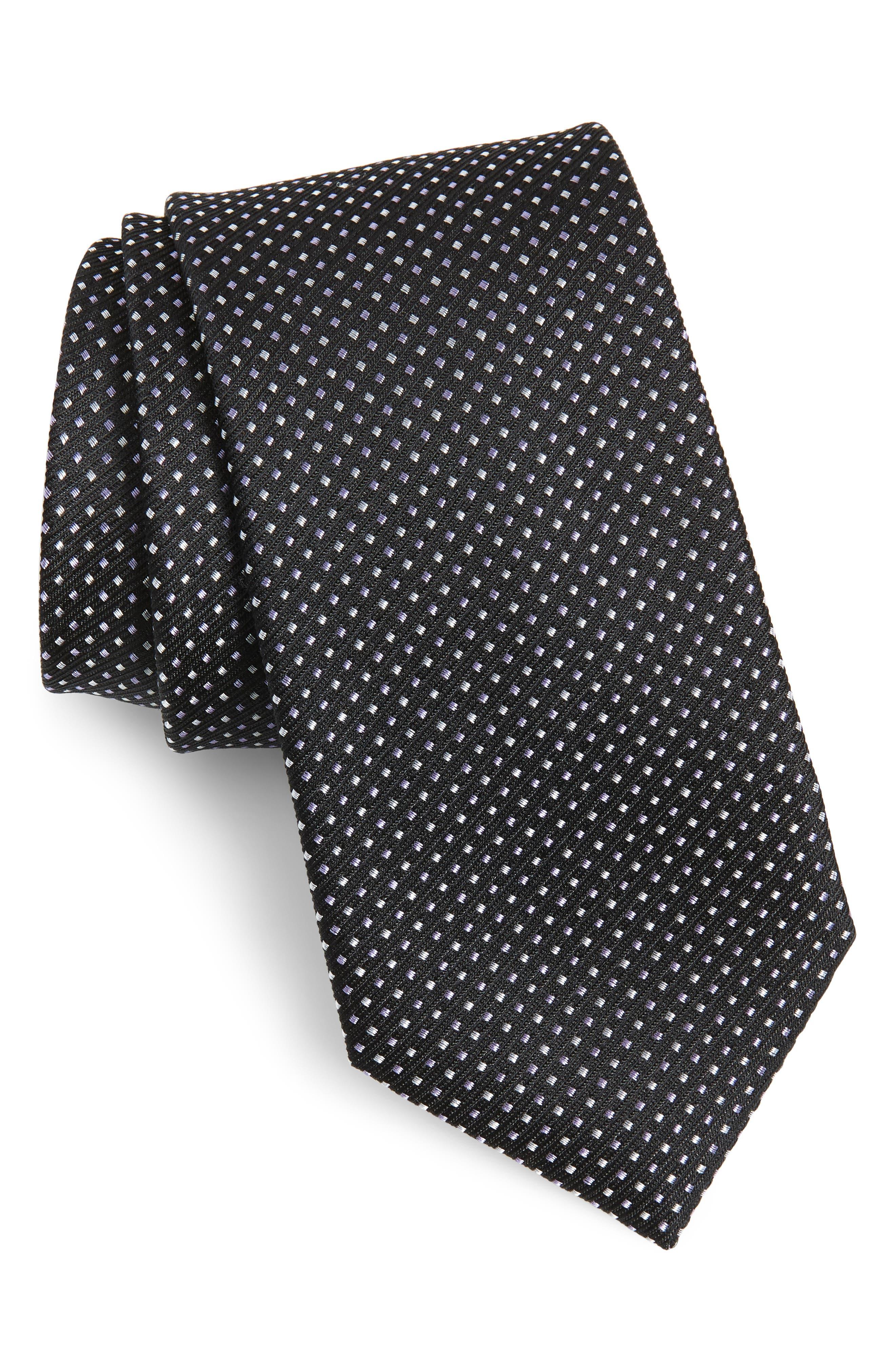 Alabaso Dot Silk Tie, Main, color, BLACK