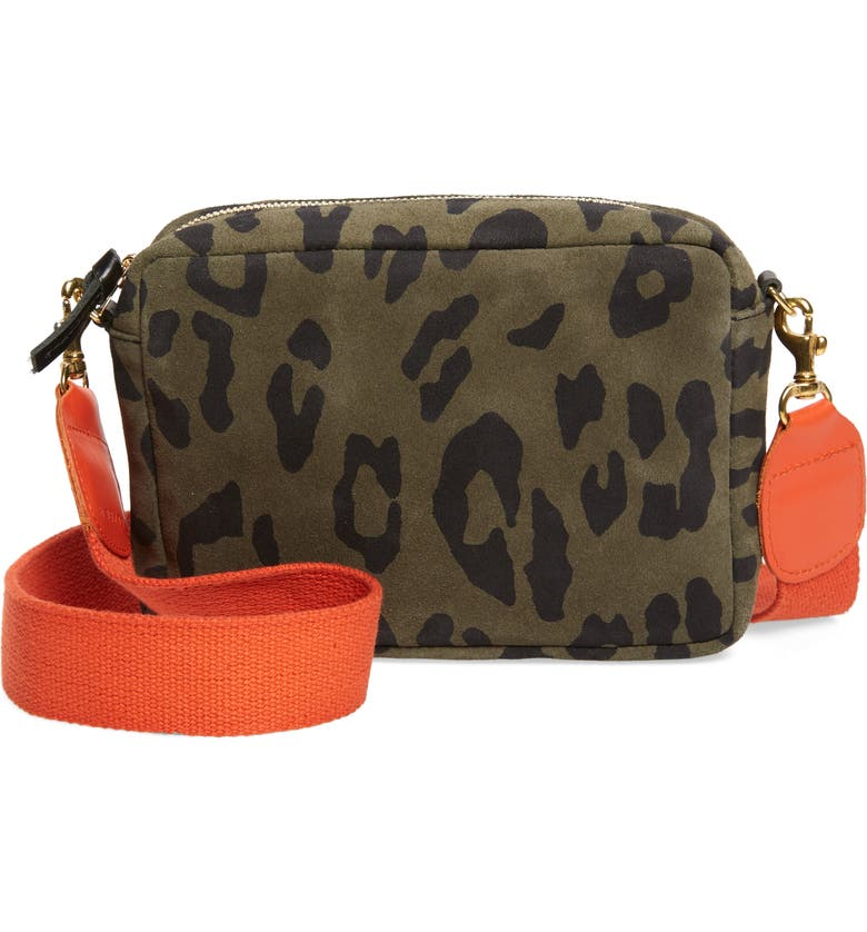 CLARE V. Midi Leopard Print Leather Crossbody Bag, Main, color, ARMY PABLO CAT