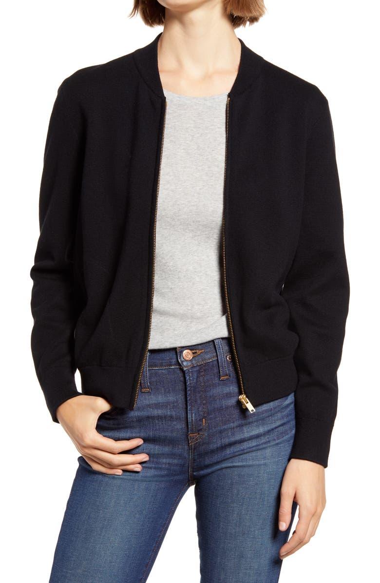 J.CREW Sweater Bomber Jacket, Main, color, 001