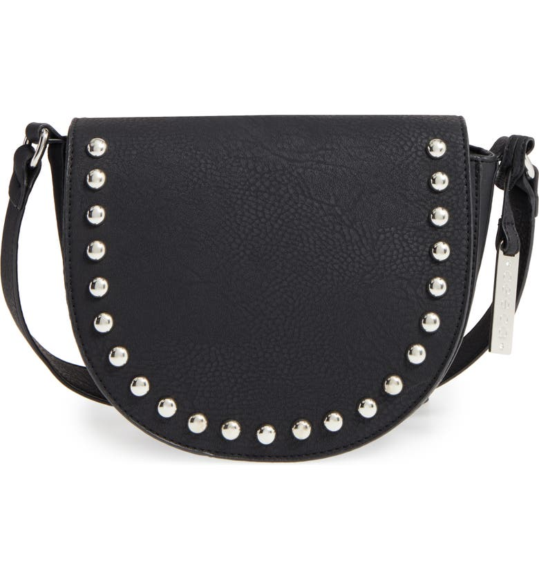 CESCA Studded Faux Leather Saddle Bag, Main, color, 001