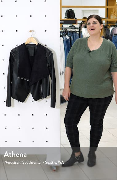 Onto the Next Faux Leather Drape Front Jacket, sales video thumbnail