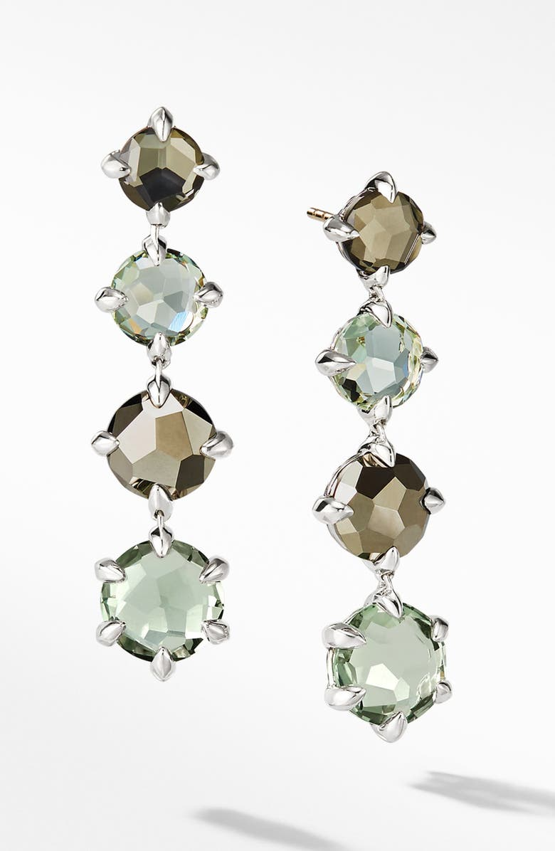 DAVID YURMAN Chatelaine<sup>®</sup> Drop Earrings with Blue Topaz, Main, color, STERLNG SILVER/ PRASIOLITE