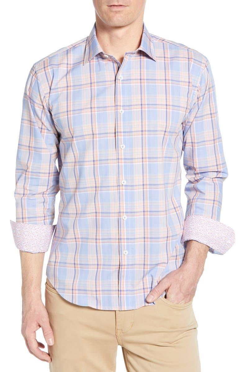 BUGATCHI Shaped Fit Plaid Cotton Shirt, Main, color, MANGO