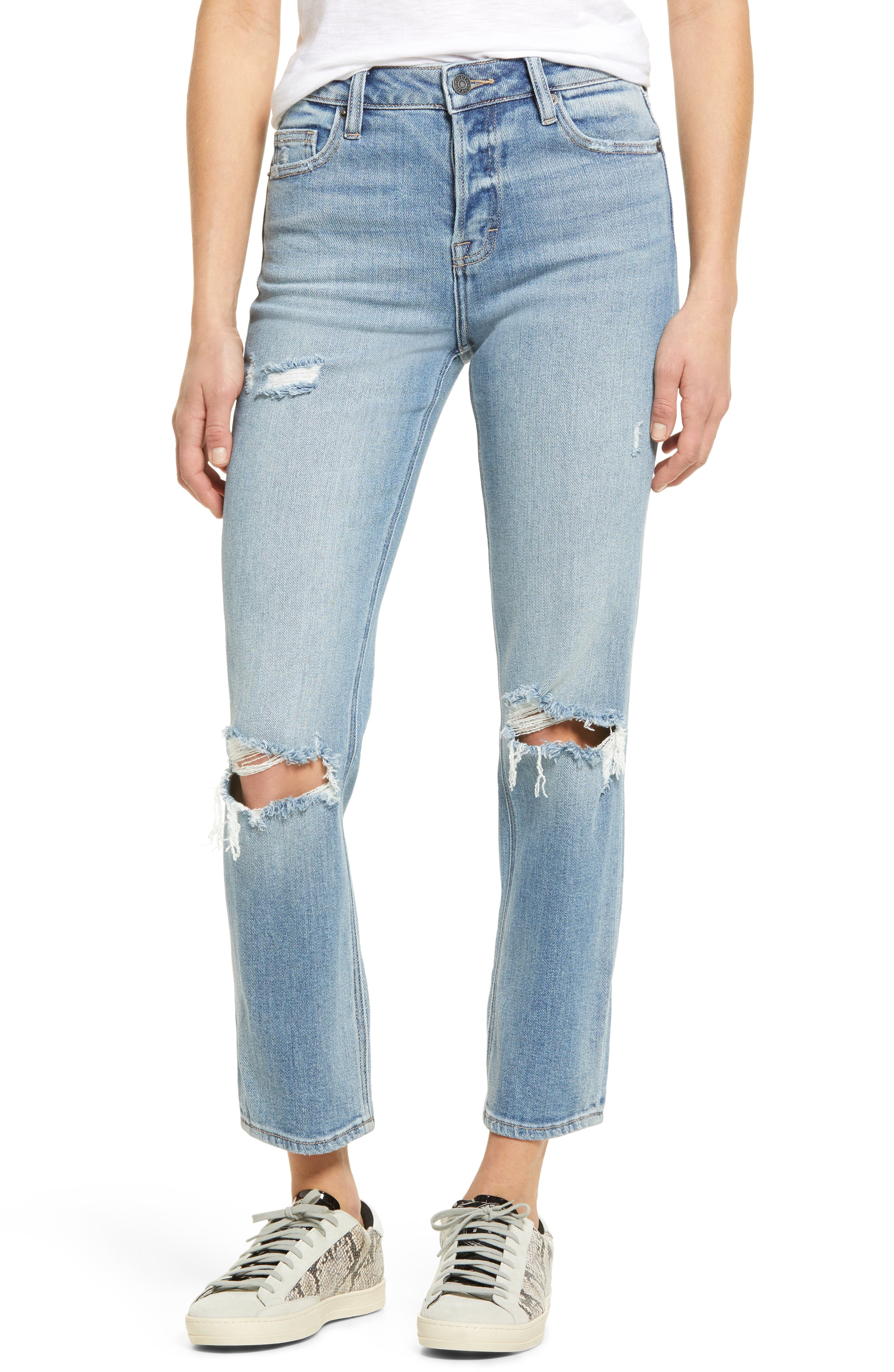 Ripped Supersoft High Waist Ankle Mom Jeans