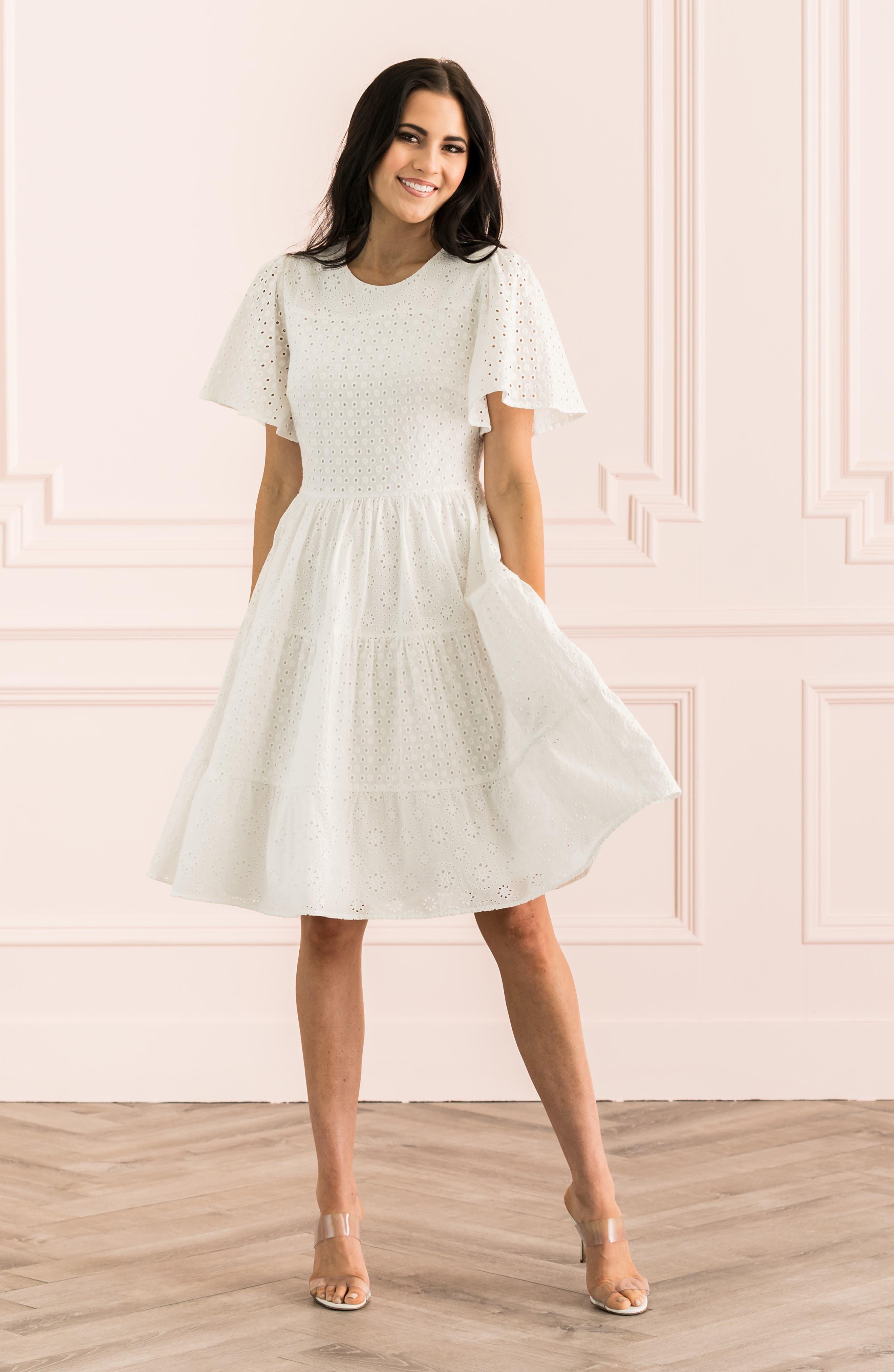 ,                             Mixed Eyelet A-Line Dress,                             Alternate thumbnail 8, color,                             WHITE