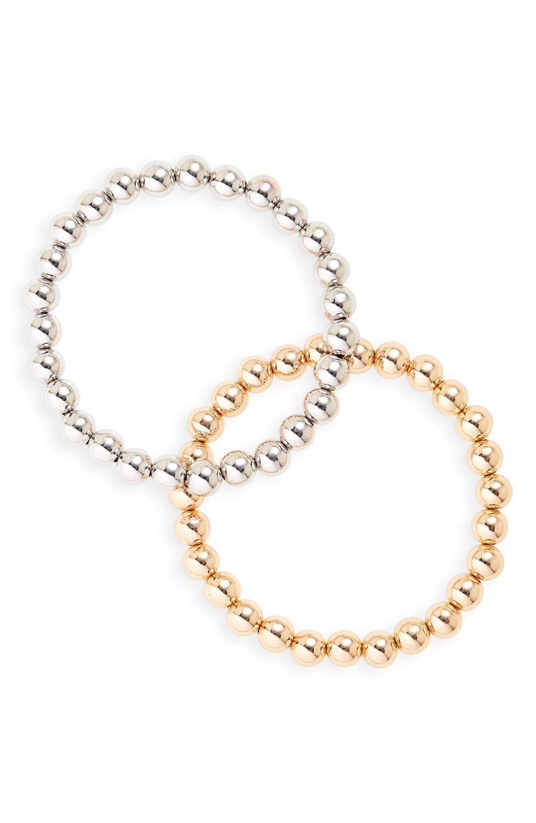 NORDSTROM Men's Set of 2 Metal Beaded Bracelets, Main, color, SILVER- GOLD