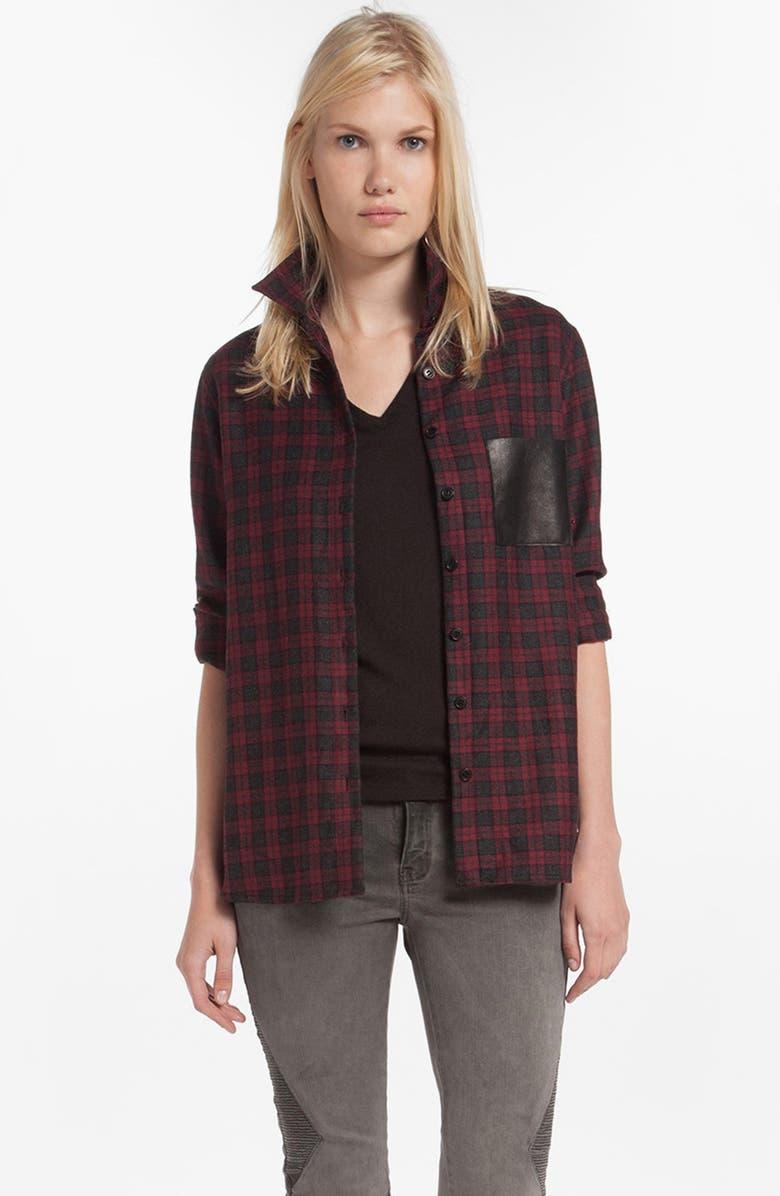78d0068bf78 'Danette' Leather Pocket Plaid Shirt, Main, color, ...
