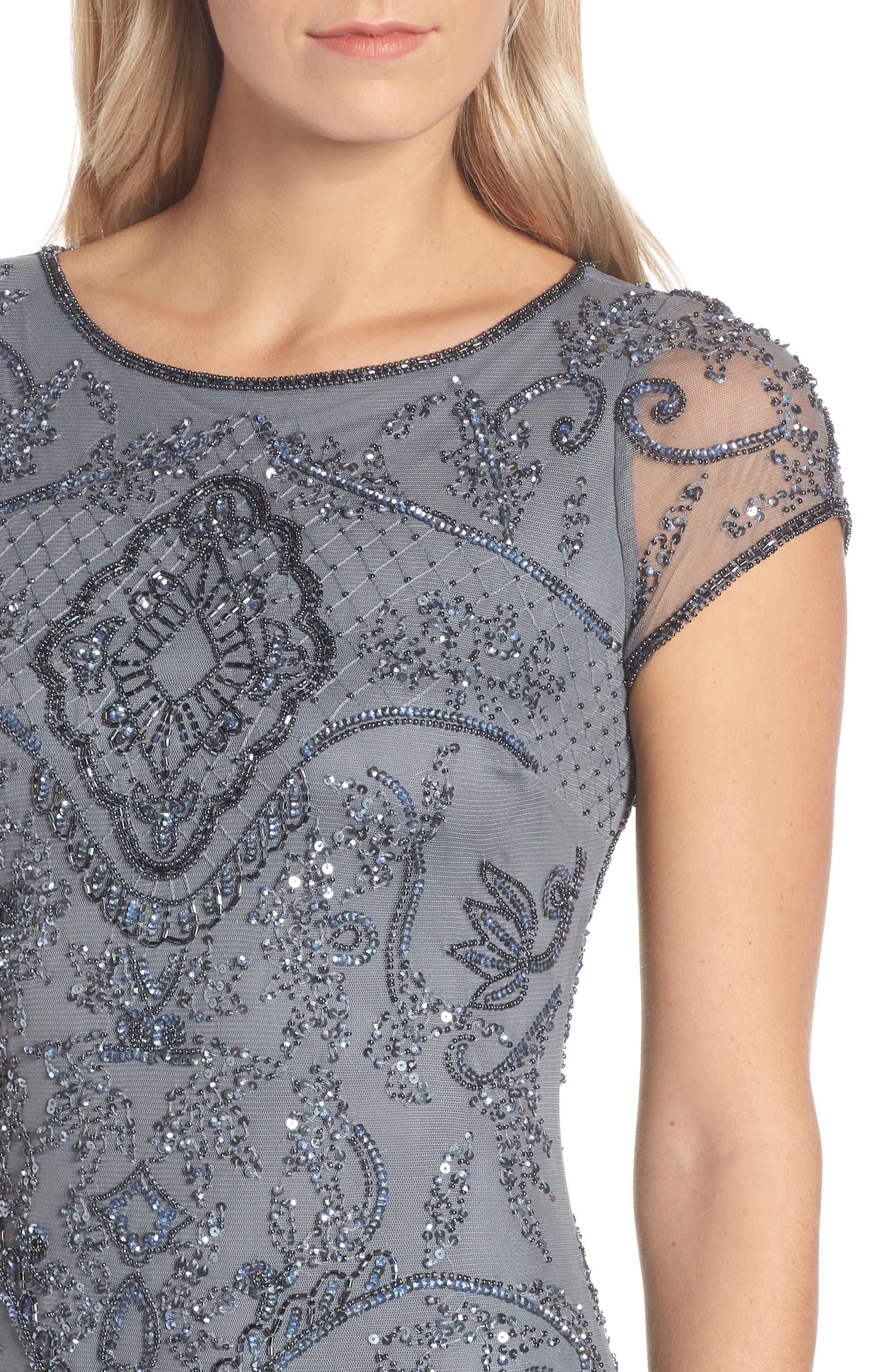 ,                             Embellished Mesh Gown,                             Alternate thumbnail 5, color,                             STEEL
