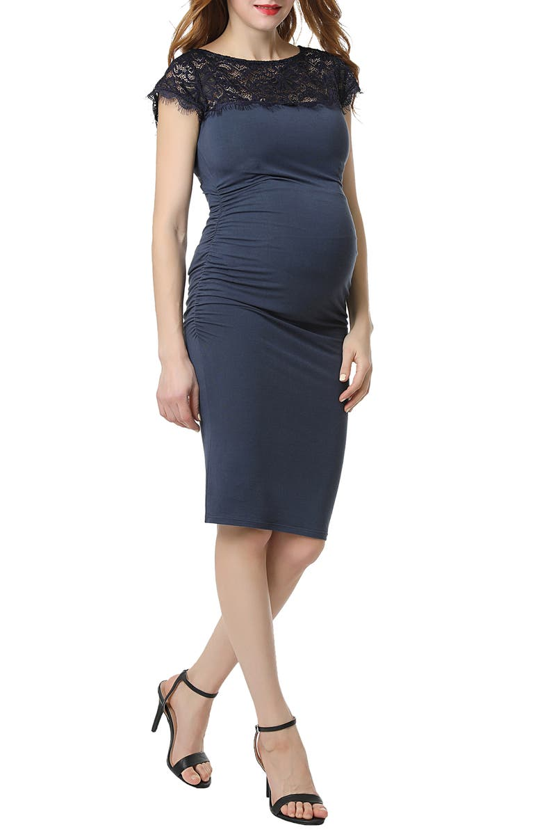 KIMI AND KAI Morgran Lace Trim Body-Con Maternity Dress, Main, color, SLATE BLUE