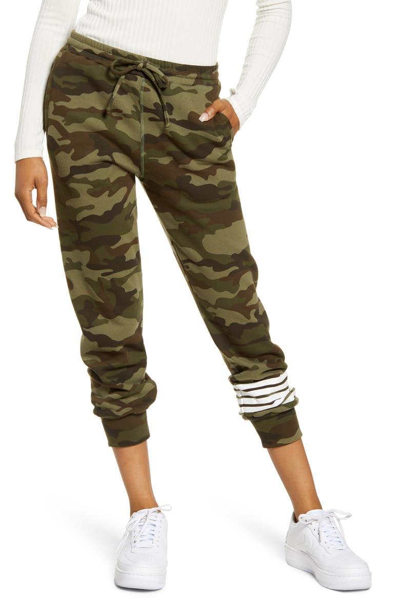 SUB_URBAN RIOT Camo Stripe Crop Sweatpants, Main, color, 300