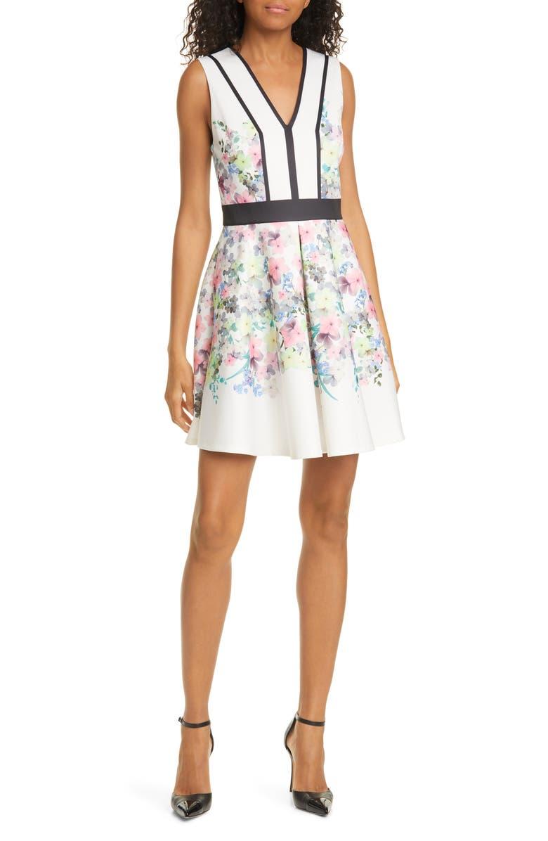 TED BAKER LONDON Solarh Pergola Print Floral Sleeveless Fit & Flare Dress, Main, color, IVORY