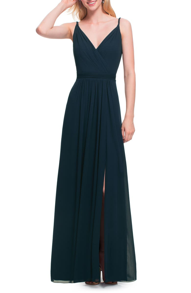 #LEVKOFF Surplice Neck Chiffon A-Line Gown, Main, color, NAVY