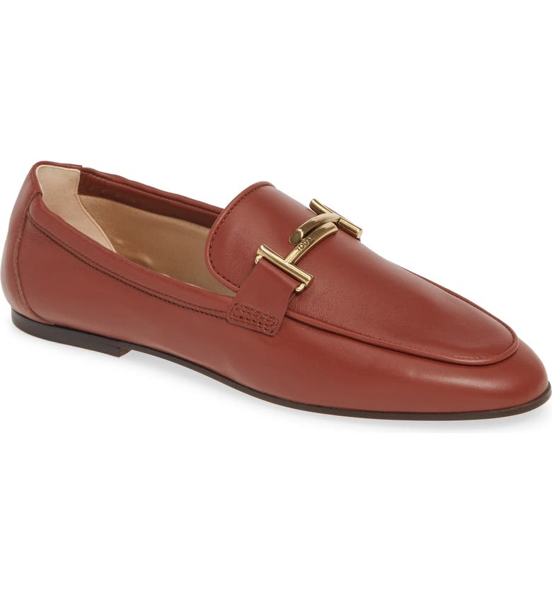 TOD'S Double-T Scrunch Loafer, Main, color, BROWN