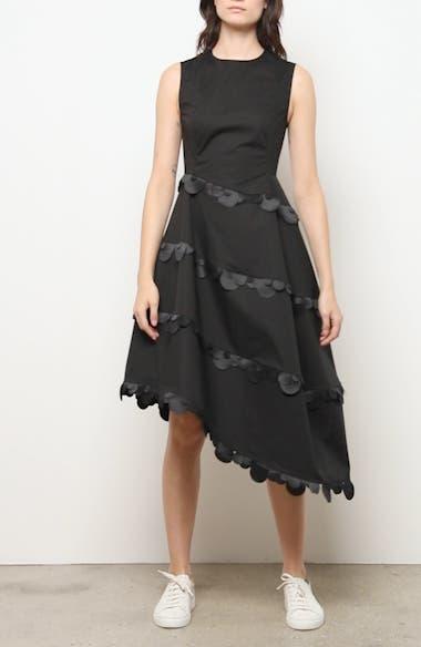 Dot Trim Asymmetrical Fit & Flare Dress, video thumbnail