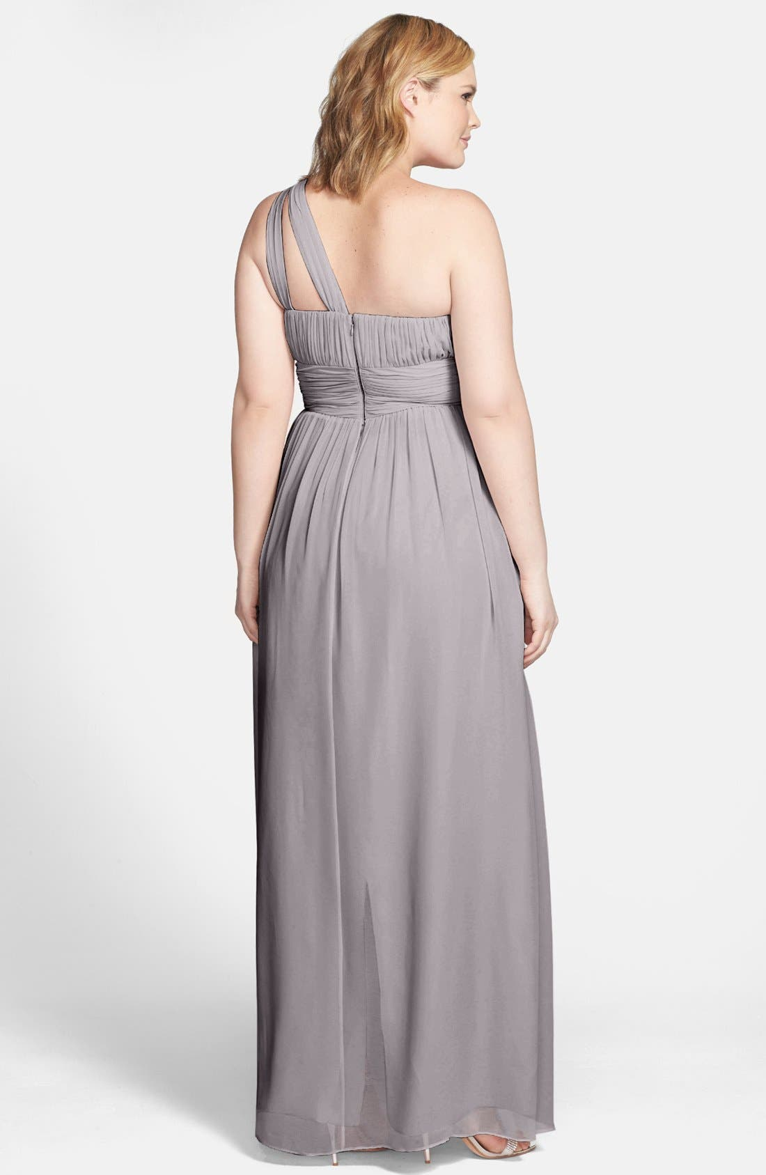 ,                             'Rachel' Ruched One-Shoulder Chiffon Gown,                             Alternate thumbnail 18, color,                             025