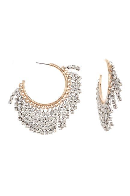 Image of Rebecca Minkoff Two-Tone Rhinestone Fringe Hoop Earrings