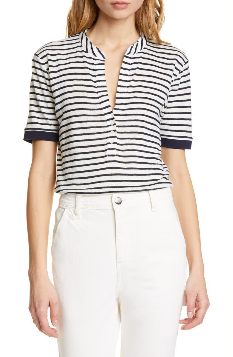 FRAME Stripe Linen Top, Main, color, BLANC MULTI