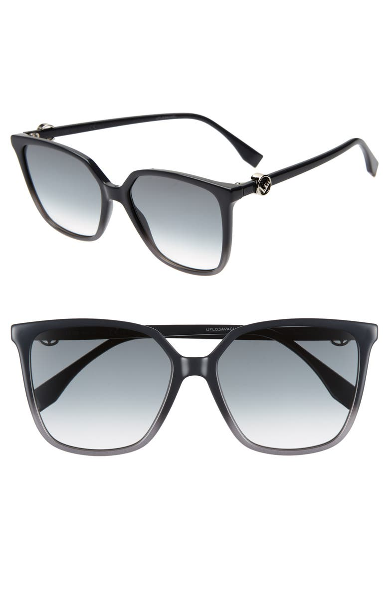 FENDI 57mm Sunglasses, Main, color, GREY
